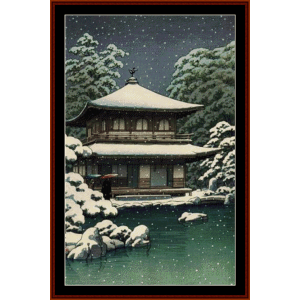 Snow at Ginkakuji - Asian Art cross stitch pattern by Cross Stitch Collectibles | Crafting | Cross-Stitch | Other