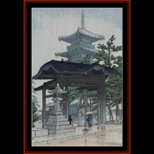 Zensetsu Temple - Asian Art cross stitch pattern by Cross Stitch Collectibles | Crafting | Cross-Stitch | Wall Hangings