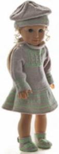 dollknittingpattern 0168d rakel -  dress, pants, hat and shoes-(english)