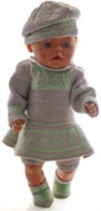 dollknittingpatterns 0168d rakel - jurk, broekje, muts en schoentjes -(nederlands)