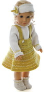 dollknittingpattern model 0169d alice - skirt, sweater, pants, hairband and socks-(english)