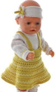 dollknittingpatterns modell 0169d alice - rock, pulli, unterhose, haarband und socken-(deutsch)