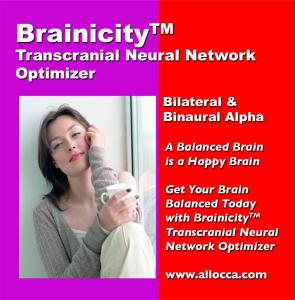 brainicitytm transcutaneous neural network optimizer - bilateral and binaural alpha