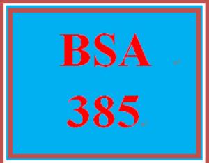 bsa 385 week 5 week five learning team: weekly team log/summary