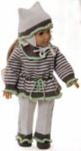 dollknittingpattern model 0170d ingrid - sweater, pants, cap and socks-(english)