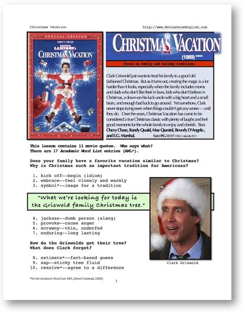 CHRISTMAS VACATION, Whole-Movie English (ESL) Lesson