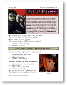 the lost boys, whole-movie english (esl) lesson