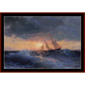 sea sunset, 1896 - aivazovsky cross stitch pattern by cross stitch collectibles