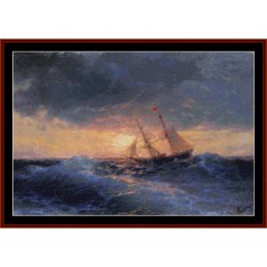 sea sunset, 1896 - aivazovsky cross stitch pattern by cross stitch collectibles