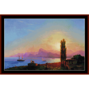 sunset at sea, 1856 - aivazovsky cross stitch pattern by cross stitch collectibles
