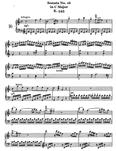 piano music sheets - piano sonata no. 16 in c major k.545  by wolfgang amadeus mozart