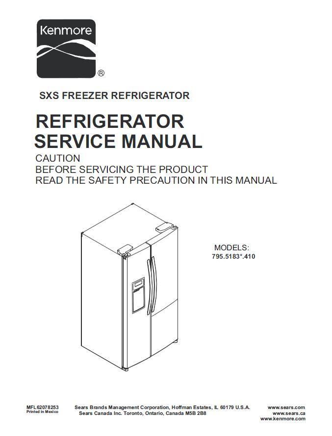 kenmore 795 51832 51833 51839 refrigerator service manual ebooks rh store payloadz com Kenmore Refrigerator Troubleshooting Kenmore Refrigerator Model Numbers