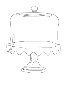 glass cake plate sketch