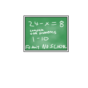 school chalkboard math problem