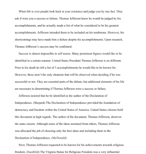 thomas jefferson success or failure? 3 page paper