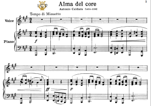 alma del core, high voice in a major, a. caldara. for soprano, tenor. tablet sheet music. a5 (landscape).schirmer (pd)