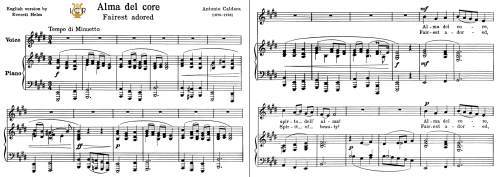 First Additional product image for - Alma del core, Low Voice in E Major, A. Caldara. For Contralto, Bass. Tablet Sheet Music. A5 (Landscape).Schirmer ((PD)