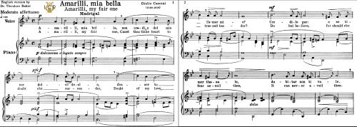 First Additional product image for - Amarilli,mia bella; Medium or High Voice in G Minor, G.Caccini. For Soprano, Tenor, Mezzo, Baritone. Tablet Sheet Music. A5 (Landscape).Schirmer  (1894)