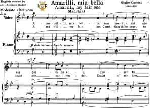 amarilli,mia bella; medium or high voice in g minor, g.caccini. for soprano, tenor, mezzo, baritone. tablet sheet music. a5 (landscape).schirmer  (1894)