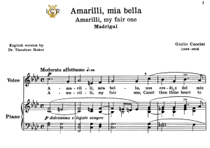 amarilli, mia bella; low voice in f minor, g.caccini. transposition for low voice (schirmer). for bass, contralto, tablet sheet music. a5 (landscape).schirmer (1894)