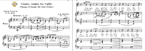 First Additional product image for - Cangia,cangia tue voglie, High Voice in C Major, G.B.Fasolo. For Soprano/Tenor. Tablet Sheet Music.A5 (Landscape). Schirmer (1894)