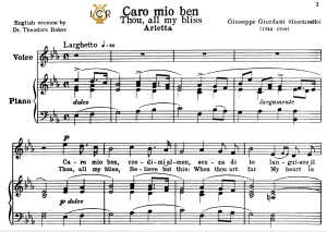 caro mio ben, high voice in e flat major, g.giordani. soprano, tenor, mezzo, baritone. tablet sheet music. a5 (landscape). schirmer (1894)