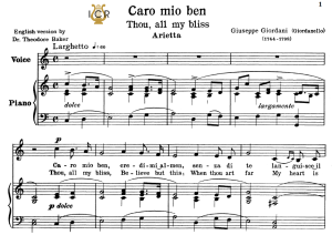 caro mio ben, low voice in c major, g.giordani. transposition for low voice (schirmer). for bass, contralto.tablet sheet music. a5 (landscape). schirmer (1894)