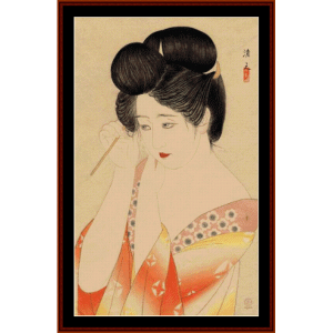 woman after a bath - asian art cross stitch pattern by cross stitch collectibles