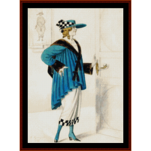 female costume, 1923 - kustodiev cross stitch pattern by cross stitch collectibles