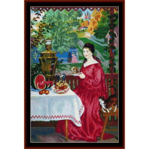 merchant's wife on the balcony - kustodiev cross stitch pattern by cross stitch collectibles