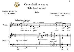 consolati e spera!, medium voice in g minor, d.scarlatti. for mezzo/baritone. tablet sheet music.a5 (landscape). schirmer (1894)