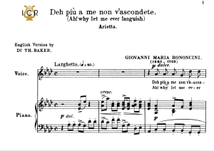 Deh più a me non v'ascondete, Medium Voice in A Flat Major, G.M.Bononcini. For Mezzo, Baritone, Soprano. Tablet Sheet Music. A5 (Landscape). Schirmer (1894). | eBooks | Sheet Music