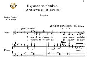 e quando ve n'andate high voice in g minor, a.tenaglia. for soprano, tenor. tablet sheet music. a5 (landscape). schirmer (1894)