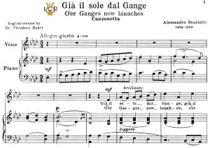 già il sole dal gange, medium voice in a flat major, a.scarlatti. for soprano, mezzo, baritone, tenor.tablet sheet music. a5 (l-andscape). schirmer (1894).