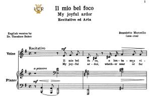 il mio bel foco, low voice in e minor, b.marcello. for contralto, bass. tablet sheet music. a5 (landscape). schirmer (1894).