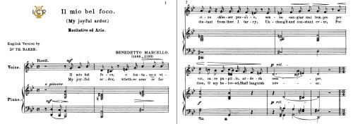 First Additional product image for - Il mio bel foco (Quella fiamma), Medium Voice in G Minor, B.Marcello. For Mezzo, Baritone.Tablet Sheet Music. A5 (Landscape). Schirmer (1894)
