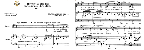 First Additional product image for - Intorno all'idol mio, Medium-Low Voice in E Minor, M.A.Cesti. For Mezzo, Baritone. Tablet Sheet Music. A5 (Landscape). Schirmer (1894).