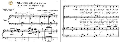 First Additional product image for - M'ha preso alla sua ragna, Medium Voice in A Flat Major, P.D.Paradies. For Mezzo, Baritone, Soprano. Tablet Sheet Music. A5 (Landscape). Schirmer (1894)