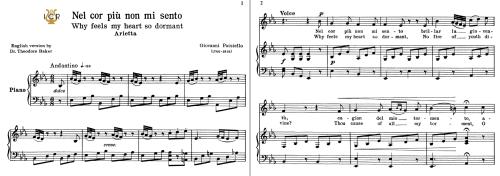 First Additional product image for - Nel cor più non mi sento, Low Voice in E Flat Major, G.Paisiello. For Contralto, Countertenor. Tablet Sheet Music. A5 (Landscape). Schirmer (1894)