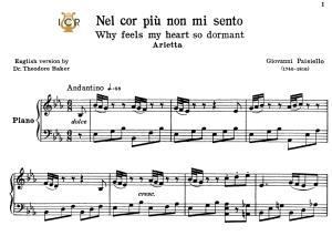 Nel cor più non mi sento, Low Voice in E Flat Major, G.Paisiello. For Contralto, Countertenor. Tablet Sheet Music. A5 (Landscape). Schirmer (1894) | eBooks | Sheet Music