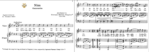 First Additional product image for - Nina, High Voice in G Minor, G.B.Pergolesi. Schirmer (PD). For Tenor, Soprano. Tablet Sheet Music. A5 (Landscape). Schirmer (PD).