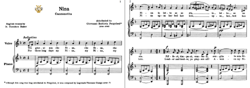First Additional product image for - Nina, Low Voice in D Minor, G.B.Pergolesi. Low Voice. For Contralto, Bass. Tablet Sheet Music. A5 (Landscape). Schirmer (PD).