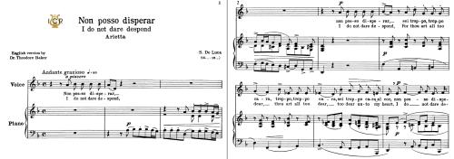 First Additional product image for - Non posso disperar, Low Voice in D Minor, G.M. Bononcini. For Mezzo, Contralto, Baritone, Bass.  Tablet Sheet Music. A5 (Landscape). Schirmer (1894).