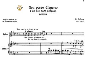 non posso disperar, high voice in f minor, g.m.bononcini. for soprano, tenor. tablet sheet music. a5 (landscape). schirmer (1894)