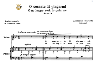 o cessate  di piagarmi, high voice in g minor, a scarlatti. for soprano, tenor. tablet sheet music. a5 (landscape). schirmer (1894)