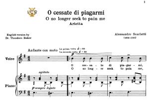 o cessate di piagarmi, low voice in e minor, a.scarlatti. for mezzo, baritone. schirmer (1894). tablet sheet music. a5 (landscape).