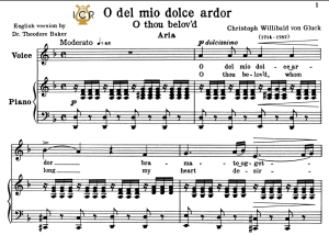 o del mio dolce ardor, low voice in d minor, c.w.gluck. for contralto, bass. tablet sheet music. a5 (landscape). schirmer (1894)
