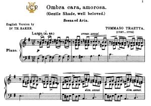 ombra cara, amorosa; high voice in e minor, t.traetta. for soprano, tenor. tablet sheet music a5 (landscape). schirmer (1894)