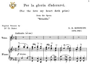 per la gloria d'adorarvi, medium voice in f major, g.m.bononcini. for soprano, tenor. tablet sheet music. a5 (landscape). schirmer (1894)