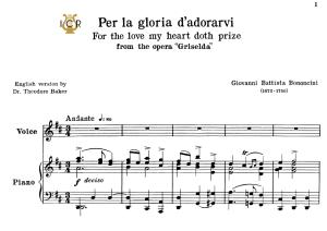 per la gloria d'adorarvi, low voice in d major, g.b.bononcini. for contralto, bass. tablet sheet music. a5 (landscape). schirmer (1894)